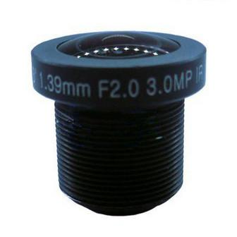 1.39mm 3Megapixel M12x0.5 Mount 190degrees IR Fisheye Lens